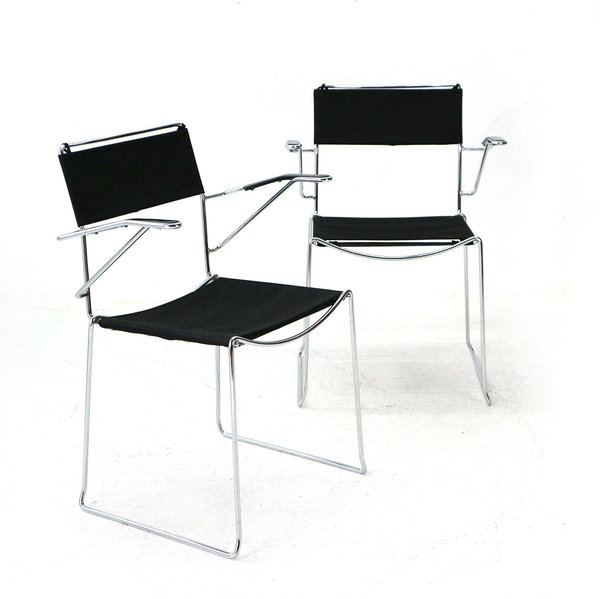 Pair of Stacking Chairs, 1980s